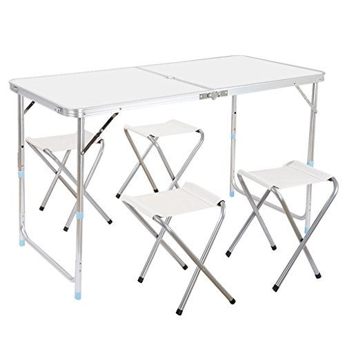 Finether Portable Folding Table Sturdy And Lightweight Steel Frame Legs with 4 Folding Chairs, 4 Adjustable Heights feet, for Indoor/Outdoor Use,Camping Picnic, Party Dining, White (Table Dining Portable Set)