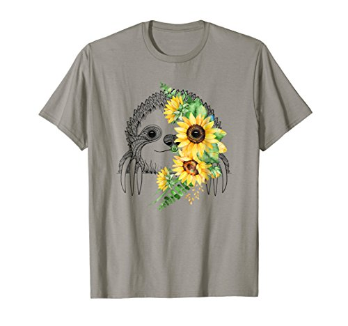 Sloth face sunflower Funny T-shirt