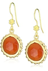 Mary Louise Round Facetted Carnelian Dotted Wrap on Flower Euro Wire Drop Earrings