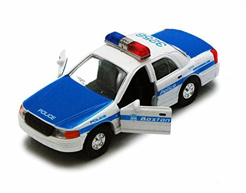Boston Police Car, Blue & White - Showcasts 9985BS - 5 Inch Scale Diecast Model (Blue Police Car)
