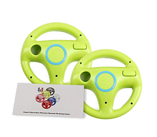 (GH 2 Pack Wii Steering Wheel for Mario Kart 8 and Other Nintendo Remote Driving Games, Wii (U) Racing Wheel for Remote Plus Controller - Yoshi Green (6 Colors)