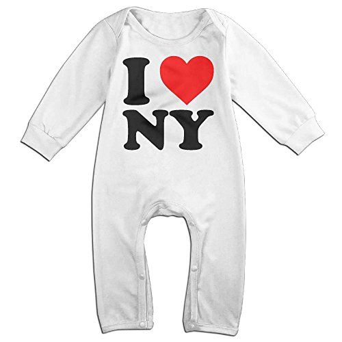Boy & Girl Infants I Love NY New York Long Sleeve Romper Climb Clothes 18 Months White