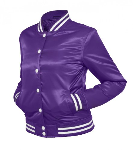 Urban Classics Ladies Shiny College Jacket fuchsia/white