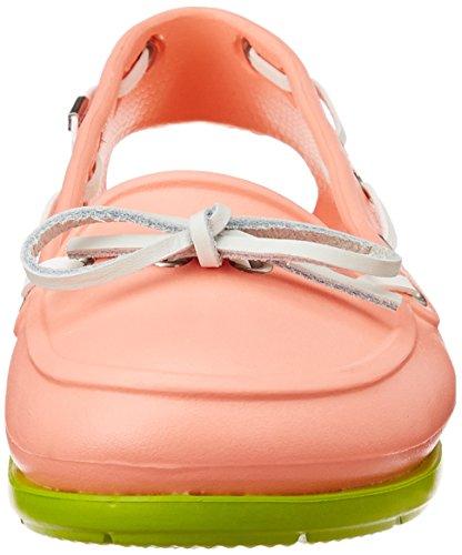 Crocs Womens Plage Ligne Bateau Chaussure Melon / Volt Vert