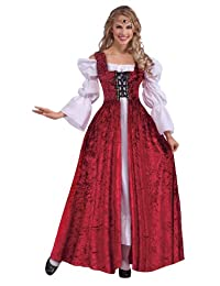 Medieval Lady Lace Up Over Gown Costume for Women