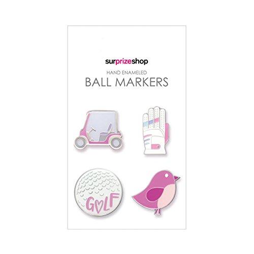 Surprizeshopウィメンズゴルフをテーマにしたボールマーカー、ピンク   B0731CSHNZ