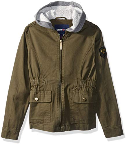 Limited Too Girls' Big Cotton Anorak Jacket with Fleece Sleeves, Olive, ()
