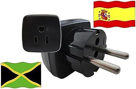 Adaptador de Viaje para España y Jamaica ES/JM Enchufe de Viaje (Contacto de Protección, 2200 Vatios): Amazon.es: Bricolaje y herramientas