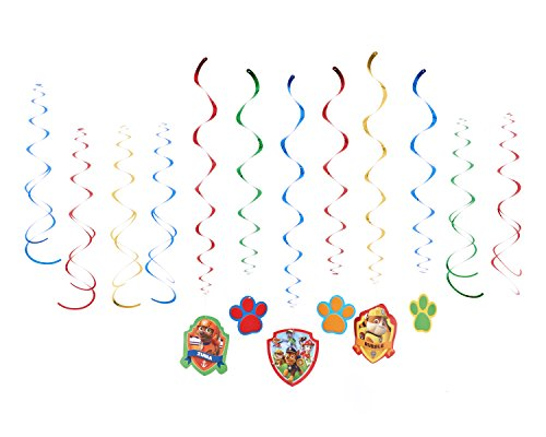 American Greetings Nickelodeon, Paw Patrol Hanging Swirl Decorations, 12-Count -
