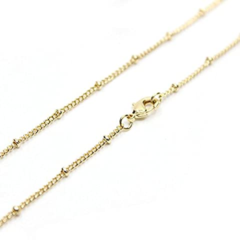 Wholesale 12PCS Gold Plated Solid Brass Satellite Beaded Ball Curb Thin Chain Necklace Bulk for Jewelry Making 18-30 Inches (26 (Chain Necklace Brass)