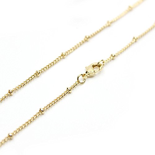 Wholesale 12PCS Gold Plated Solid Brass Satellite Beaded Ball Curb Thin Chain Necklace for Jewelry Making 16-30 Inches (16 Inch(1.5MM))