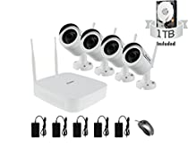 HD Wireless Video Security Camera System 4CH NVR + (4) HD WiFi Auto-Sync Cameras with Long Range Transmission - Perfect for Homes/Stores/Offices - 1TB HDD Included