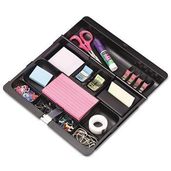 Recycled Plastic Desk Drawer Organizer Tray, Plastic, Black ()