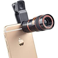 CrazyInk 8X_M Zoom Mobile Phone Telescope Universal Clip Lens DSLR Like Camera Compatible with All Android, iOS and Windows Devices [Colour May Vary]