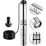 Happybuy Deep Well Submersible Pump 0.5HP Submersible Well Pump 150ft 25GPM Stainless Steel Deep Well Pump for Industrial and Home Use