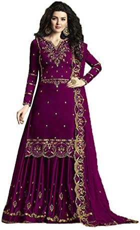 Royal Export Women's Wine Color Satin Georgette Patiala Punjabi suit