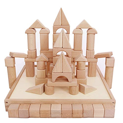 iPlay, iLearn Kids Building Block Set, 72 PCS Wood Blocks, Natural Wooden Stacking Cubes, Structure Tile Game, Educational and Activity Toy for Age 3, 4, 5 Year Olds, Children, Toddlers, Boys, Girls