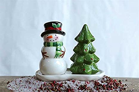 Amazon Com Ceramic Snowman Tree Salt Pepper Shaker With Tray