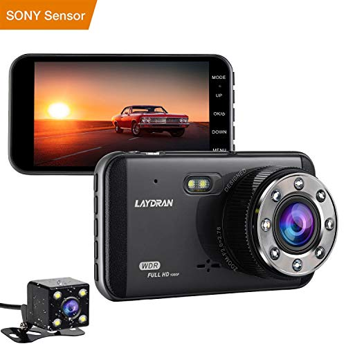 Cheap LAYDRAN 4″ IPS Dual Lens Car Dash Cam FHD 1920X1080P Car Dashboard Camera 170 Degree Wide Angle Driving Camera Recorder with H.264,WDR,Night Vision,G-Sensor,Motion Detect,Loop Recording,Parking Mode