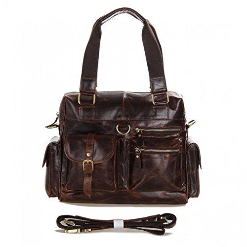 Full Grain Leather Womens Shoulder Tote Bag Travel Handbag Brown Large