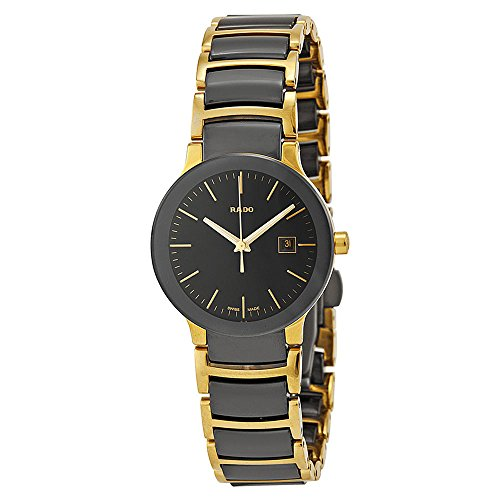 Rado Centrix Black Dial Yellow Gold PVD Black - Rado Ladies Gold Watch