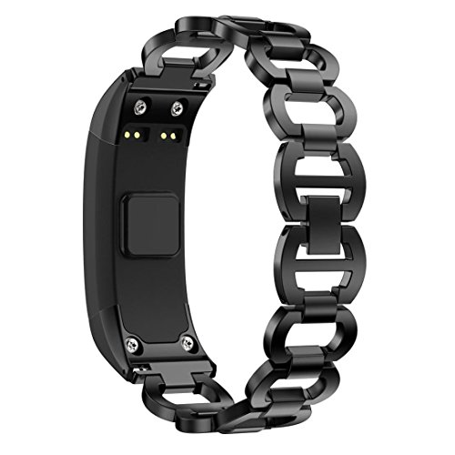 Price comparison product image For Garmin VIVOsmart HR Watch Band,  Boofab Luxury Accessory Stainless Steel Quick Release Premium Solid Metal Replacement Bracelet Strap for Men's Women's Watch (Black)