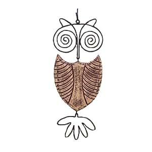 Ancient Graffiti Ceramic Hanging Owl Outdoor Decor