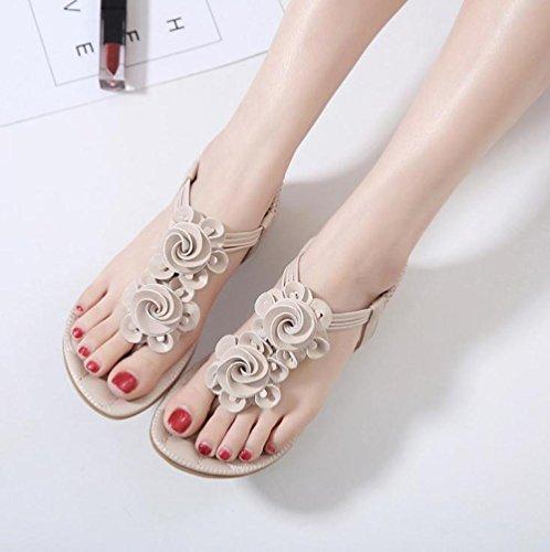 Bohemian Dulces Femeninas Nuevas Apricot XiMu Bottom Flat de Zapatos Planos Flowers Bomba Sandalias la de vnSwxBaZ