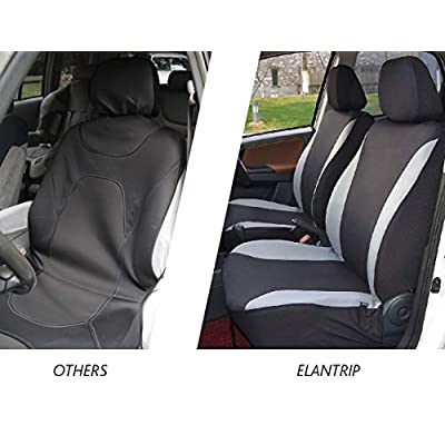 Elantrip Waterproof Front Car Seat Covers Set Universal Fit Bucket Seat Protector Airbag Compatible for Cars SUV Truck, Gray and Black 2 PC: Automotive