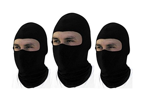 3 Pack -Thin Cotton Spandex Motorcycle Balaclava Face Mask, Premium Quality, Helmet Liner, Ski Mask, Dust Mask, Black Tactical Balaclava