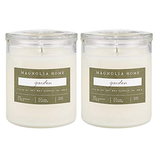Magnolia Home Garden Scented Soy Wax 11.6 oz Glass Candle Jar with Lid by Joanna Gaines- Illume Pack of 2 (Cottage Garden Candle)