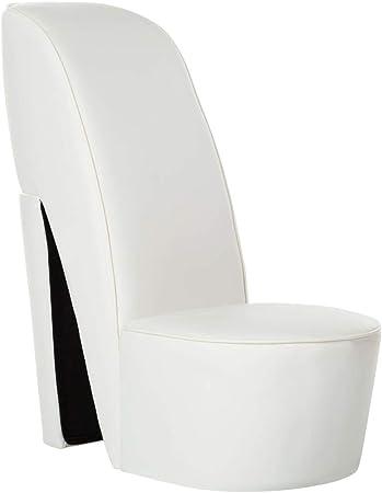 YiYueTrade Chaise en Forme de Chaussure à Talon Haut Blanc