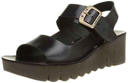 Fly London 000 Black Sandali Zeppa con Donna P143907003 Nero q76ROrnqx