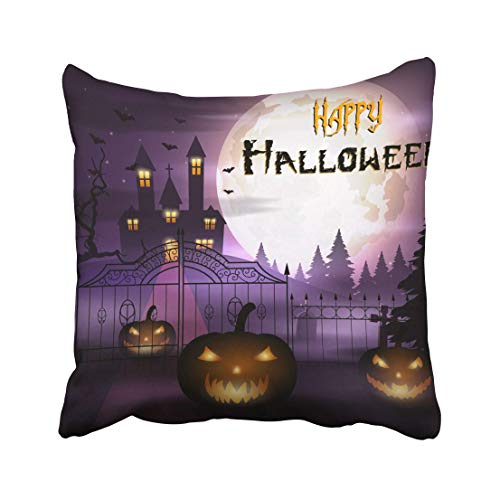 Emvency Purple Autumn of Halloween with Pumpkins and Scary Church on Graveyard Bat Celebration Cemetery Creepy Throw Pillow Covers 16x16 Inch Decorative Cover Pillowcase Cases Case Two -