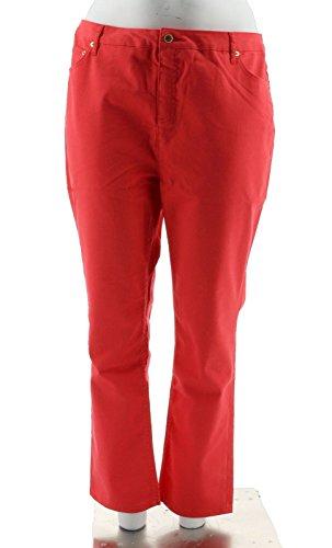 Liz Claiborne Ladies Jeans - Liz Claiborne NY Reg Hepburn Slim Leg Colored Jeans A240260, Hibiscus Red, 20W