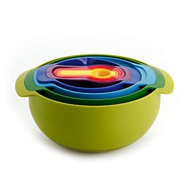 Joseph Joseph 40031 Nest 9 Compact Nesting Mixing Bowl Set Measuring Tools Sieve Colander Food Prep Plastic Dishwasher Safe Non-Slip, 9-Piece, Multicolored