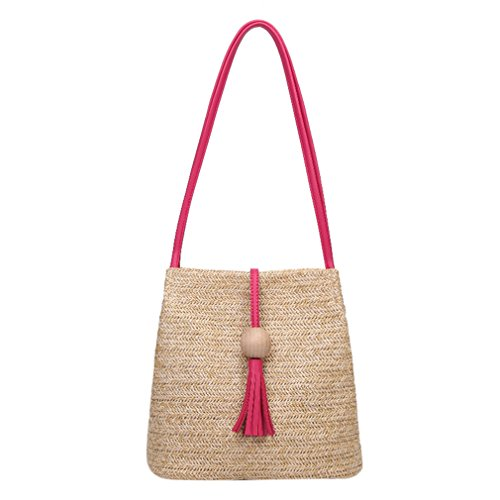 Straw HandKnitting Grass Hot Rattan Bags Woven Pink Bag Bag Beach Weave Bucket Tote Amuele xw0q75znax
