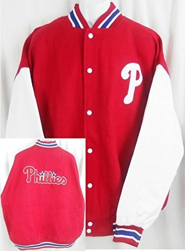 - Majestic Philadelphia Phillies Wool/Polyester Bomber Jacket Big & Tall Sizes (4XL)