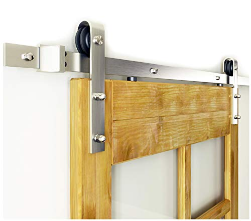 Diyhd 5FT Brushed Nickel Steel Sliding Barn Wood Door Hardware for small door - Nickel Track