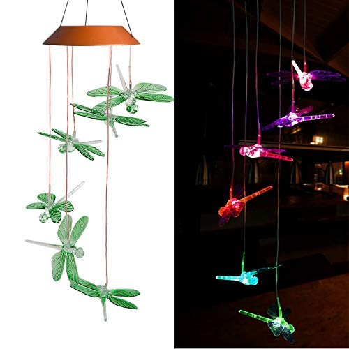 CXFF LED Solar Dragonfly Wind Chimes Outdoor - Waterproof Solar Powered LED Changing Light Color Six Dragonflies Mobile Romantic Wind-Bell for Home, Party, Festival Decor, Night Garden Decoration ()