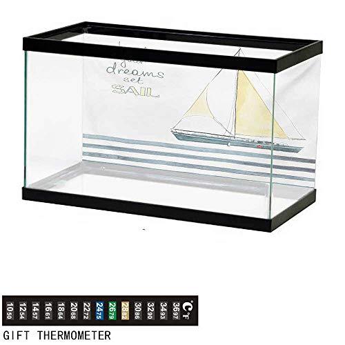 wwwhsl Aquarium Background,Nautical,Let Your Dreams Set Sail Quote Stripes Yacht Interior Navigation Theme,Pale Blue White Fish Tank Backdrop 30