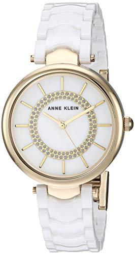 (Anne Klein Women's AK/3308WTGB Glitter Accented Gold-Tone and White Ceramic Bracelet)