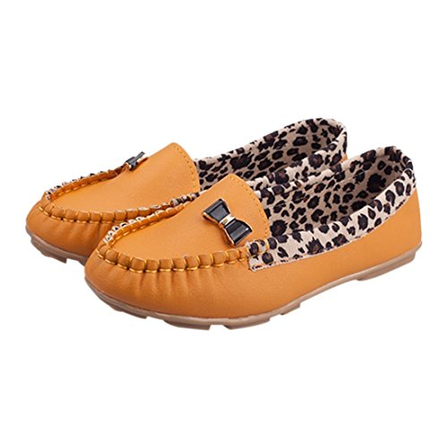 Women Flats - SODIAL(R)Fashion Spring and Autumn Flats for Women loafers Shoes Leopard patchwork leather Women casual driving Shoes Yellow US7 G7cWKs