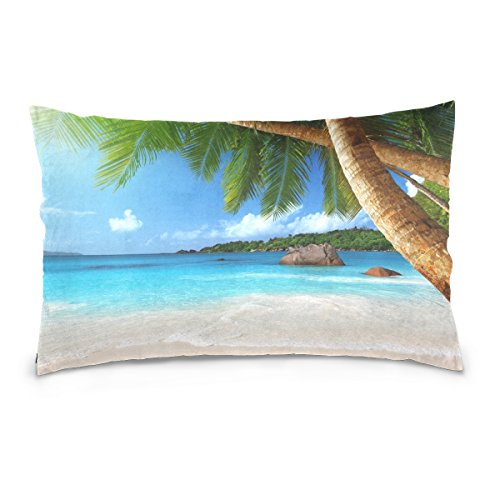 ALAZA Tropical Beach Coast Palm Tree leaf Cotton Standard Size Pillowcase 26 X 20 Inches Twin Sides, Tropical Beach Island Sea Waves Sky Pillow Case Sham Cover Protector Decorative for Couch Ded ()