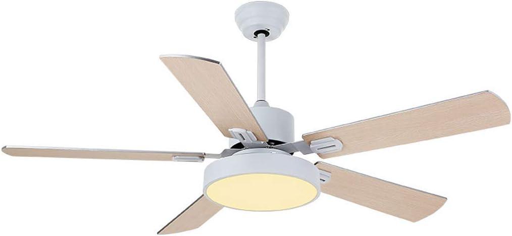 BAIJJ Ventilador de Techo Moderno LED Control Remoto Fábrica Luz de Ventilador de Oficina/con 5 aspas de Madera para Ventilador/Velocidad de 3 velocidades/Regulable/Lámpara de Ventilador d
