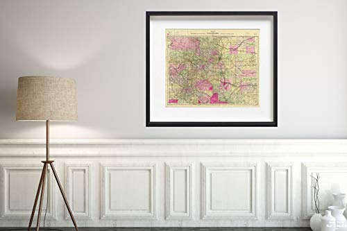 Map|Cover: Nell's Topographical of The State of Colorado 1895|Vintage Fine Art Reproduction|Size: 20x24|Ready to Frame ()