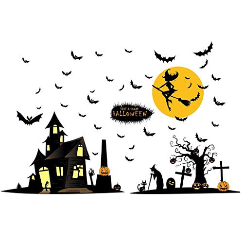 MEANIT Halloween Wall Decals Wall Stickers Black Window Clings Pumpkins Ghost Witch Bats for Halloween Party ()