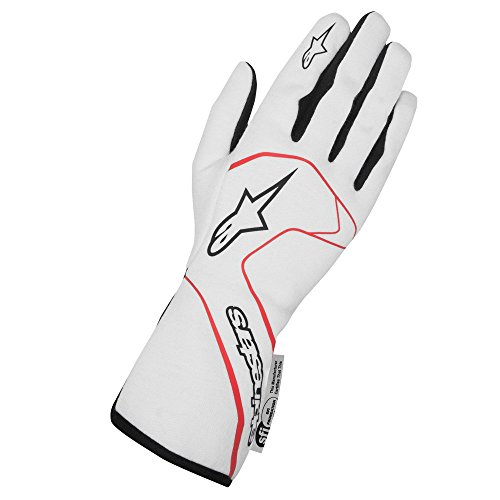 Alpinestars 3551117-231-S Tech 1 Race Gloves, White/Red/Black, Size S, SFI 3.3 Level 5/FIA 8856-