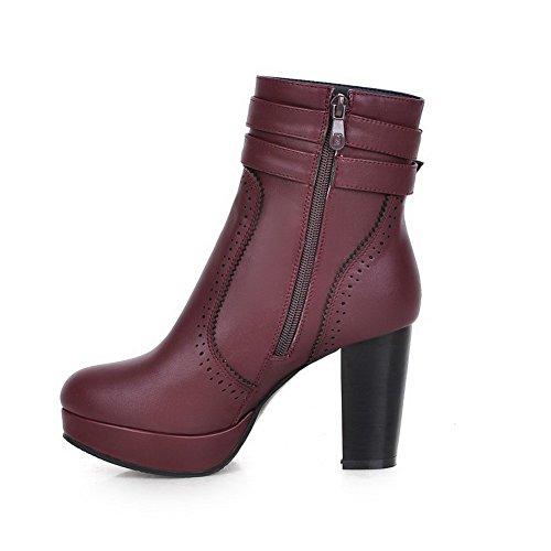 VogueZone009 Damen Blend-Materialien Reißverschluss Hoher Absatz Niedrig-Spitze Stiefel Weinrot