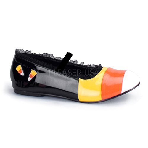 Funtasma by Pleaser Women's Candykorn-12 Flat,Black/Yellow/Orange,6 M US -
